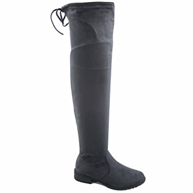 4203989d417 Forever Link Jalen-h4 Women s Fashion Thigh Knee High Low Heel Riding Boots  Shoes (