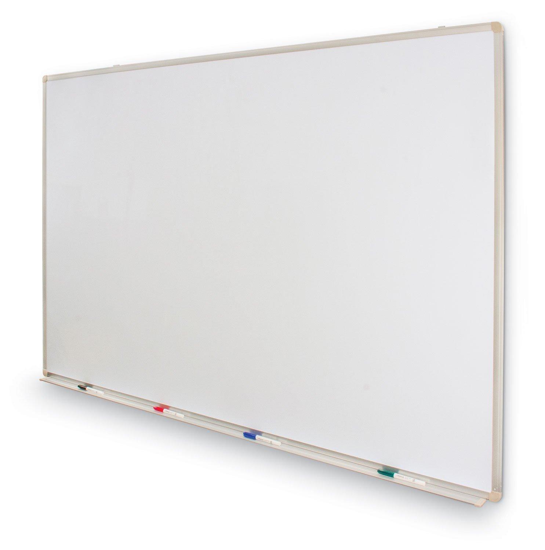 Universal Dry Erase Board, Melamine, 72'' x 48'', White, Black/Gray Aluminum/Plastic Frame by Universal