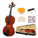 4/4 Full Size Acoustic Violin, Strong Wind Solid Wood Natural Varnish Violin Beginner Kit with Hard Case, Shoulder Rest, Bow, Rosin for Starter Students Adult Children
