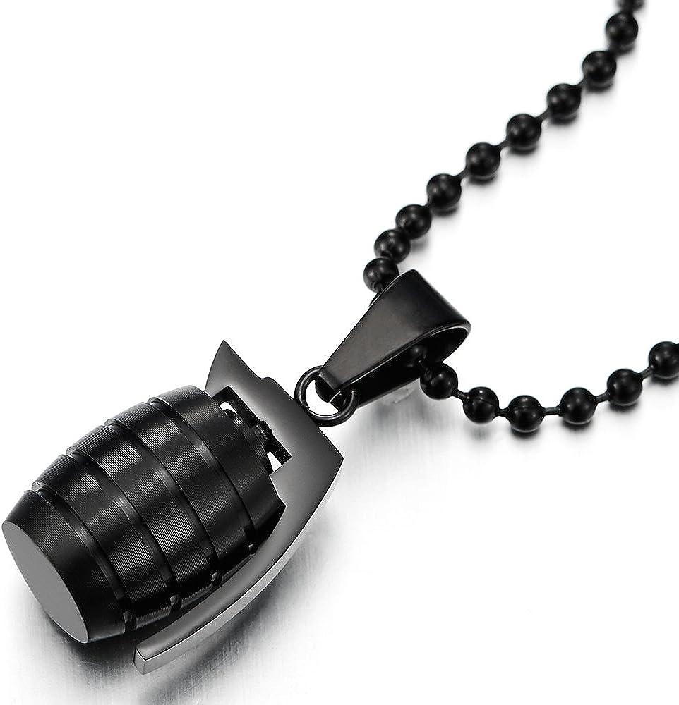 60CM Balle Cha/îne Pendentif de Protection Collier Femmes Homme Acier Inoxydable avec Zircone Cubique COOLSTEELANDBEYOND Or Mauvais /œil