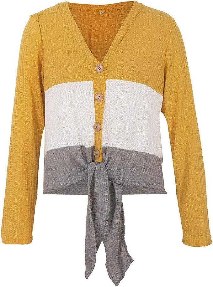 Xiaoa Blusa Tipo túnica de Punto para Mujer, con Nudo de Corbata ...