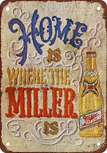 1969 Miller Beer Needlepoint Vintage Look Reproduction Aluminum Metal Sign for Garage Easy to Mount Indoor & Outdoor Use ()
