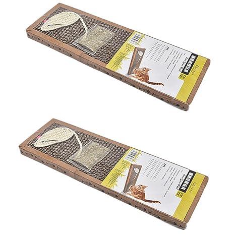 2 rascadores para gatos Karton Catnip Toy de cartón para arañar Pad estrecho