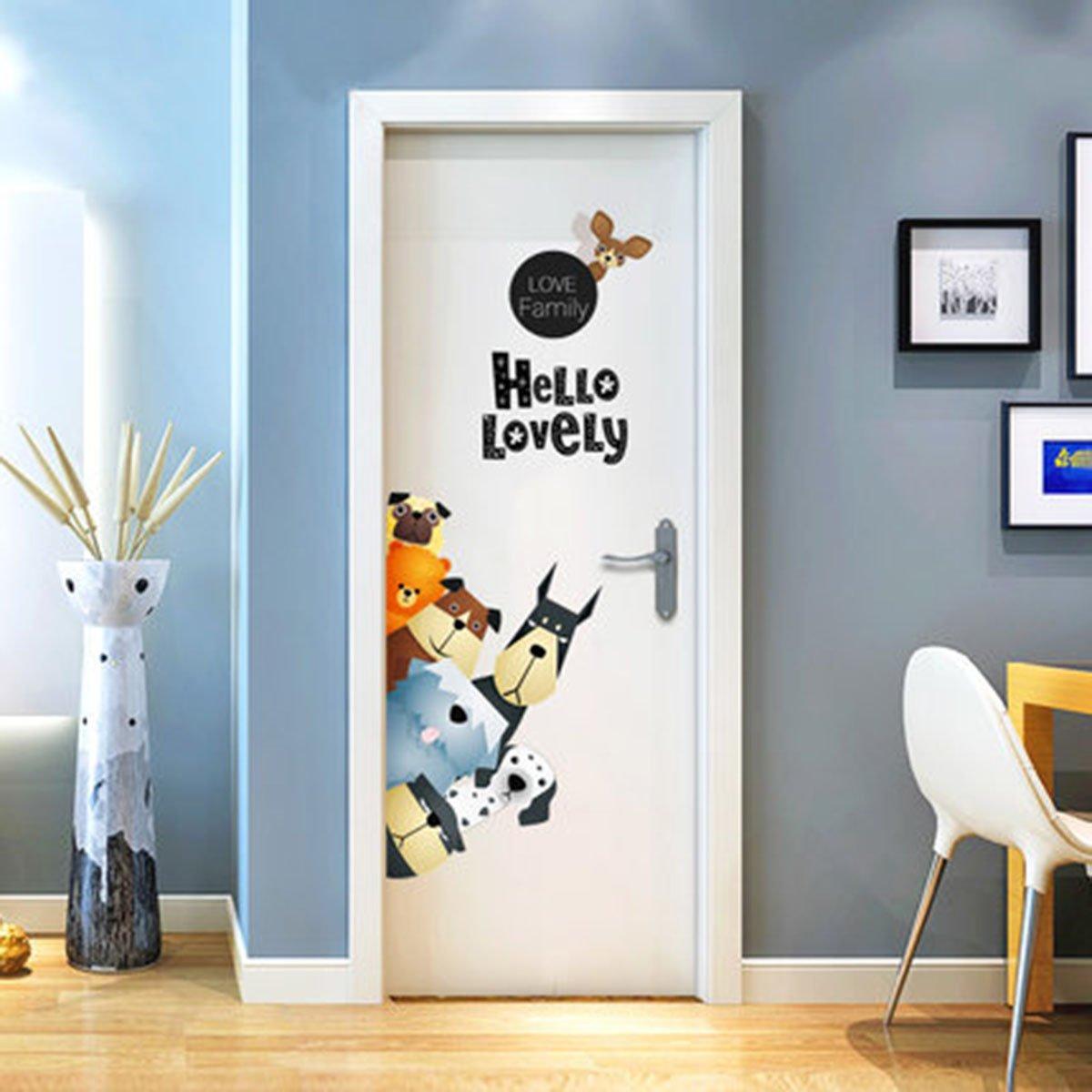 Ikeelife Door Murals Cartoon Animal Decals Door Wall Sticker Cabinet Wallpaper Mural Diy Home Decor Poster Decoration Dogs 68X75Cm/26.8X29.6''