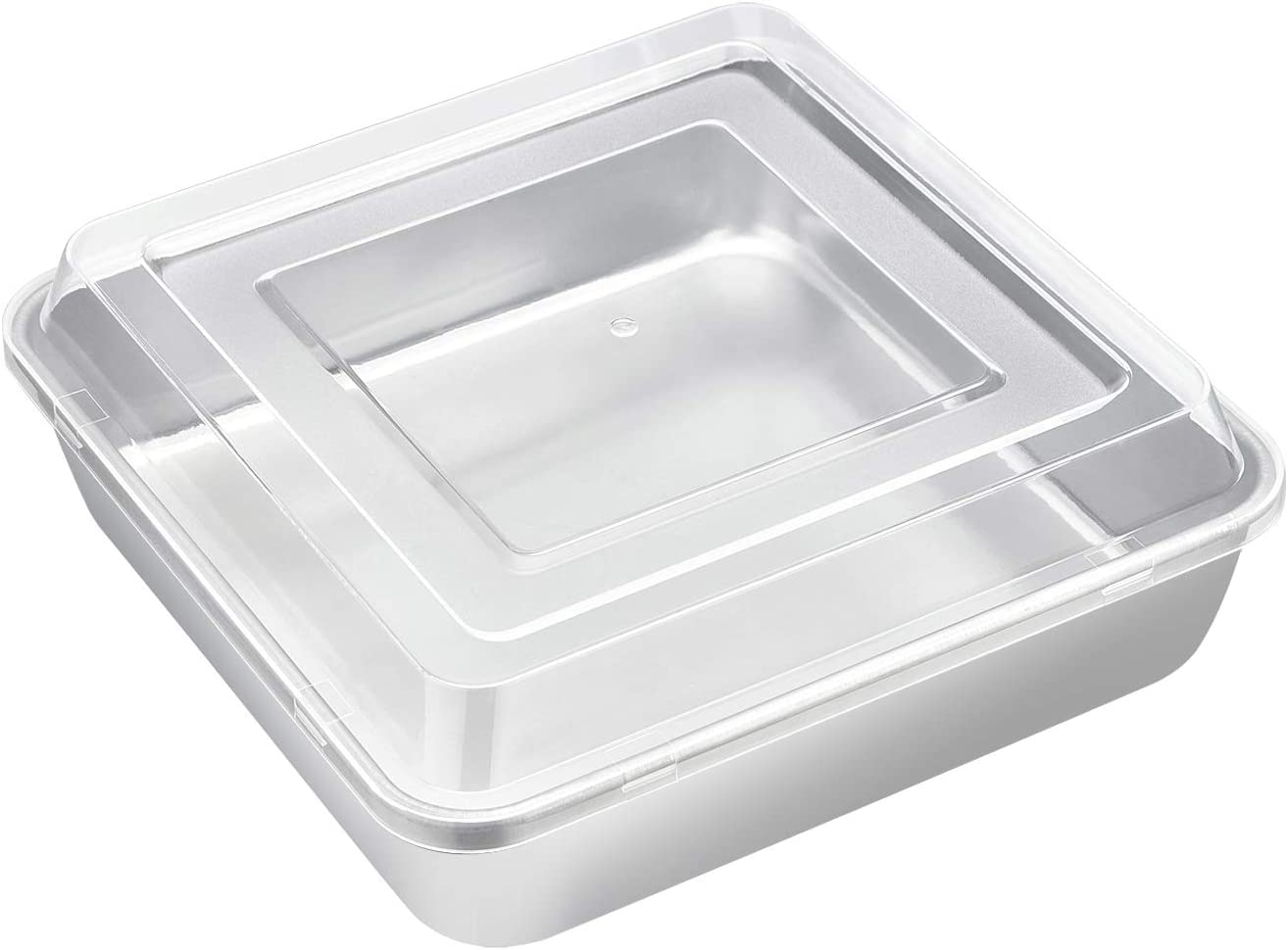 8 x 8-Inch Square Baking Pan with Lid, E-far Stainless Steel Square Cake Brownie Pan, Fit for Toaster Oven, Non-toxic & Healthy, Easy Storage & Dishwasher Safe - 2 Pieces(1 Pan + 1 Lid)