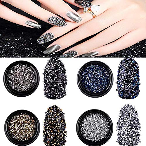 Nail Art Decorations Mini 3D Diamond Micro Rhinestones, The Best 2019 Nail Trends Crushed Stone Crystal Sand for Manicure DIY Nail Art Kit 4Colors(Gold,Black,Silver,Blue)