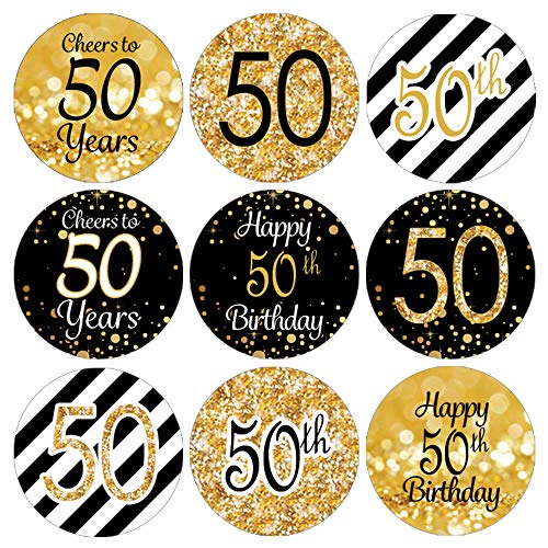 Black and Gold 50th Birthday Party Favor Labels | 180 Stickers -