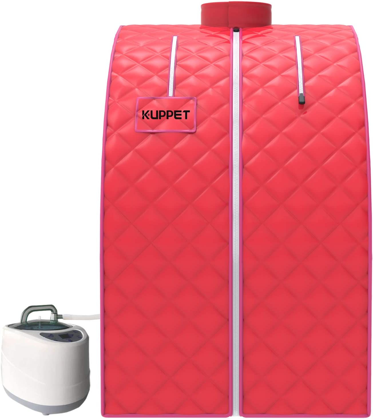 KUPPET Portable Folding Steam Sauna-2L One Person Home Sauna Spa for Full Body Slimming Loss Weight w/Chair, Remote Control, Steam Pot, Foot Rest, Mat (Pink)