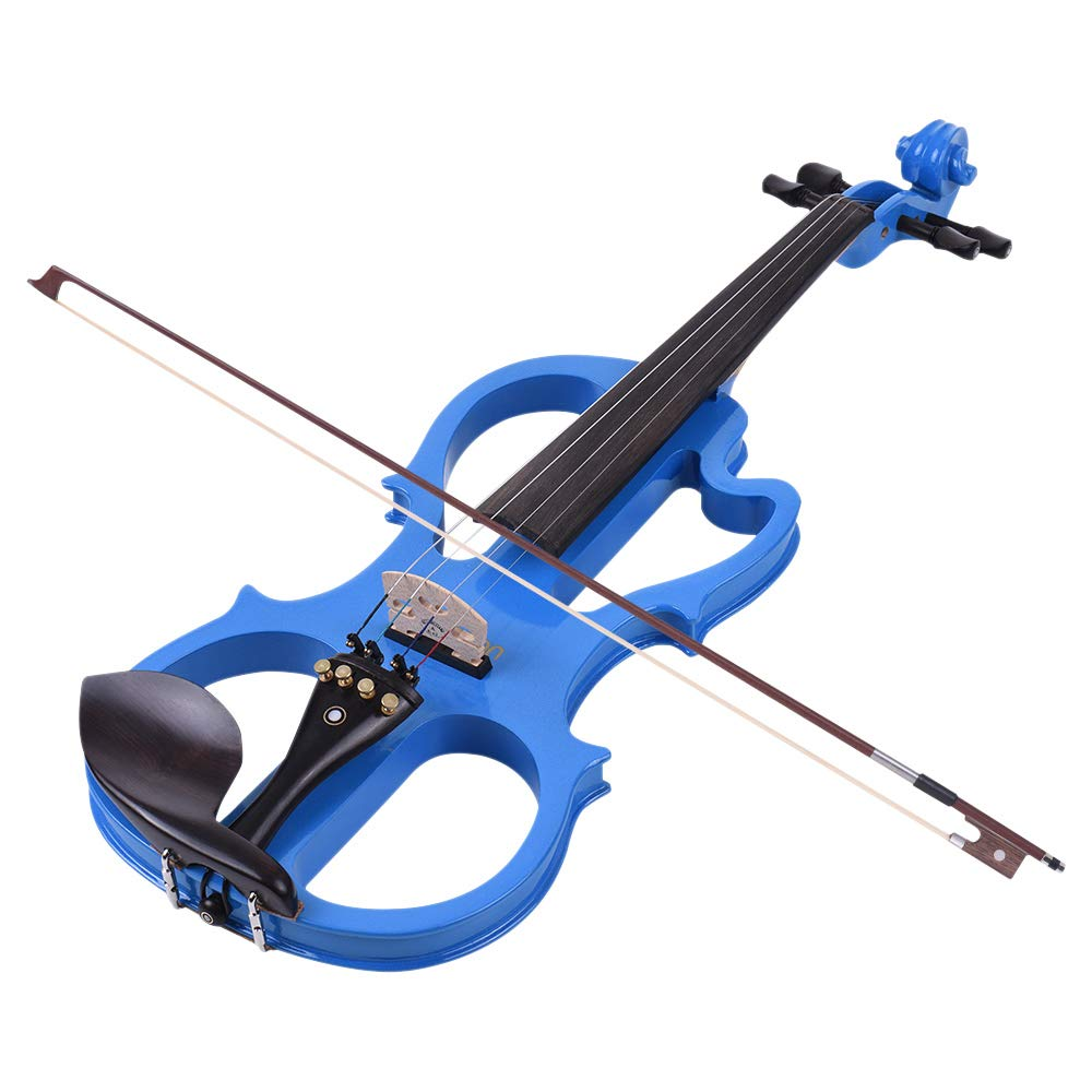 VE-201 Full Size 4/4 Solid Wood Silent Electric Violin Fiddle Maple Body Ebony Fingerboard Pegs Chin Rest Tailpiece with Bow Hard Case Tuner Headphones Rosin Audio Cable Extra Strings Blue by Godyluck