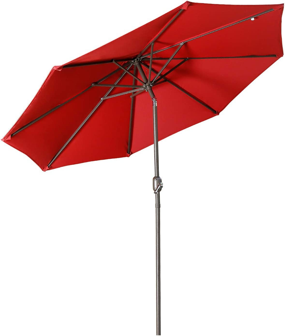 Aok Garden 9 ft Patio Umbrella Outdoor Table Umbrella with Push Button Tilt and Crank 8 Sturdy Ribs Fade Resistant for Patio Table, Market, Deck, Wine Red