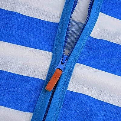Meikosks Women's Zipper Hooded Sweatshirt Stripe Print Coat Jacket Ladies Casual Hoodie Tops: Clothing