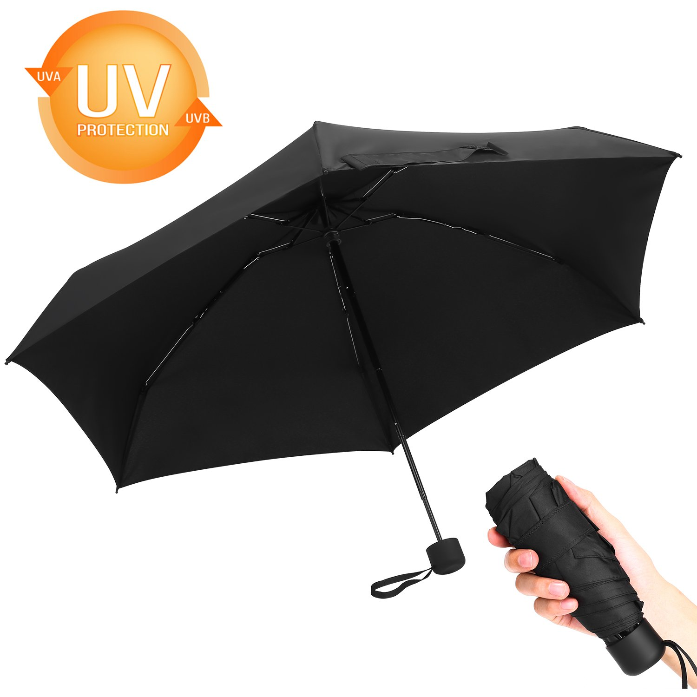 Deilin Compact Windproof Mini Umbrella Portable Lightweight Sun & Rain TravelUmbrella 95% UV Protection by Deilin