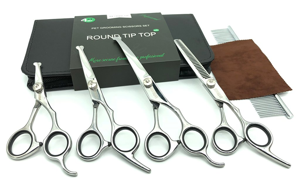 Bemibear Dog Grooming Scissors with Round Tip Top,5 Pieces Stainless Steel Pet Trimmer Kit,Professional Pet Grooming Shears