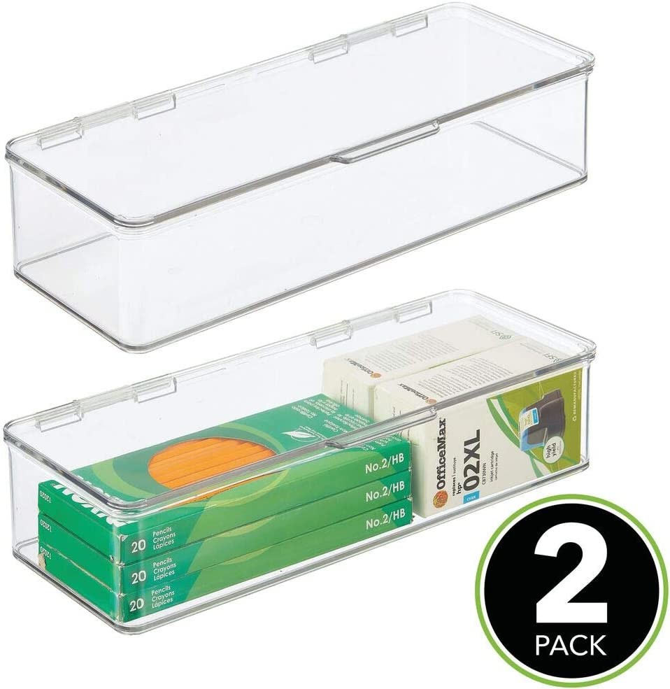 mDesign Juego de 2 organizadores de ba/ño gel de ducha lociones y m/ás transparente//blanco Caja de almacenaje apilable para guardar champ/ú Pr/áctica caja organizadora de pl/ástico con tapa