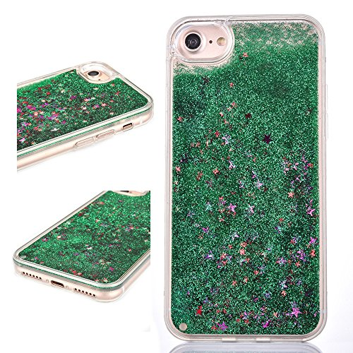 Rejected all traditions 3D Design Dynamic Sparkle Stars Liquid Water Glitter Quicksand Hard Back + Soft TPU bumper Case For iPhone 6/6S 4.7 inch - - Hard Green Dark Medium