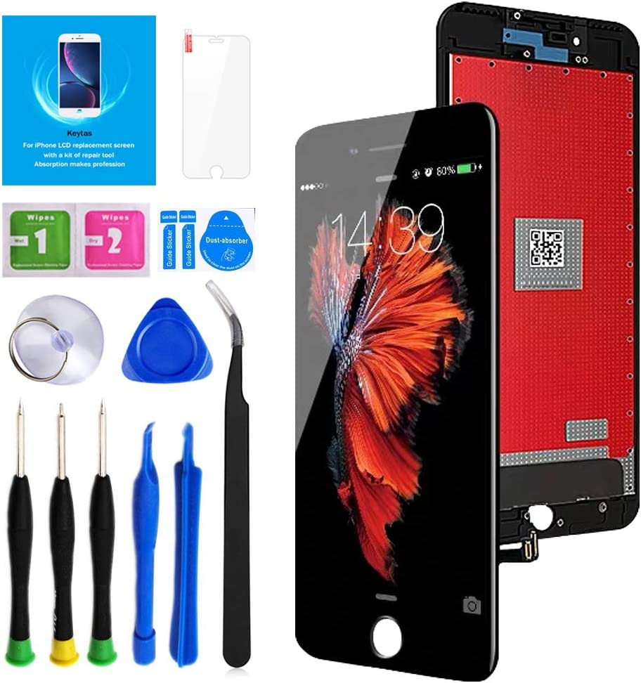 "Keytas for iPhone 6S Screen Replacement Kit Black 4.7"" LCD Display Compatible with iPhone 6s Touch 3D Screen 4.7 Inch Digitizer Frame Assembly with Free Repair Tools Kit+ Screen Protector (Black)"