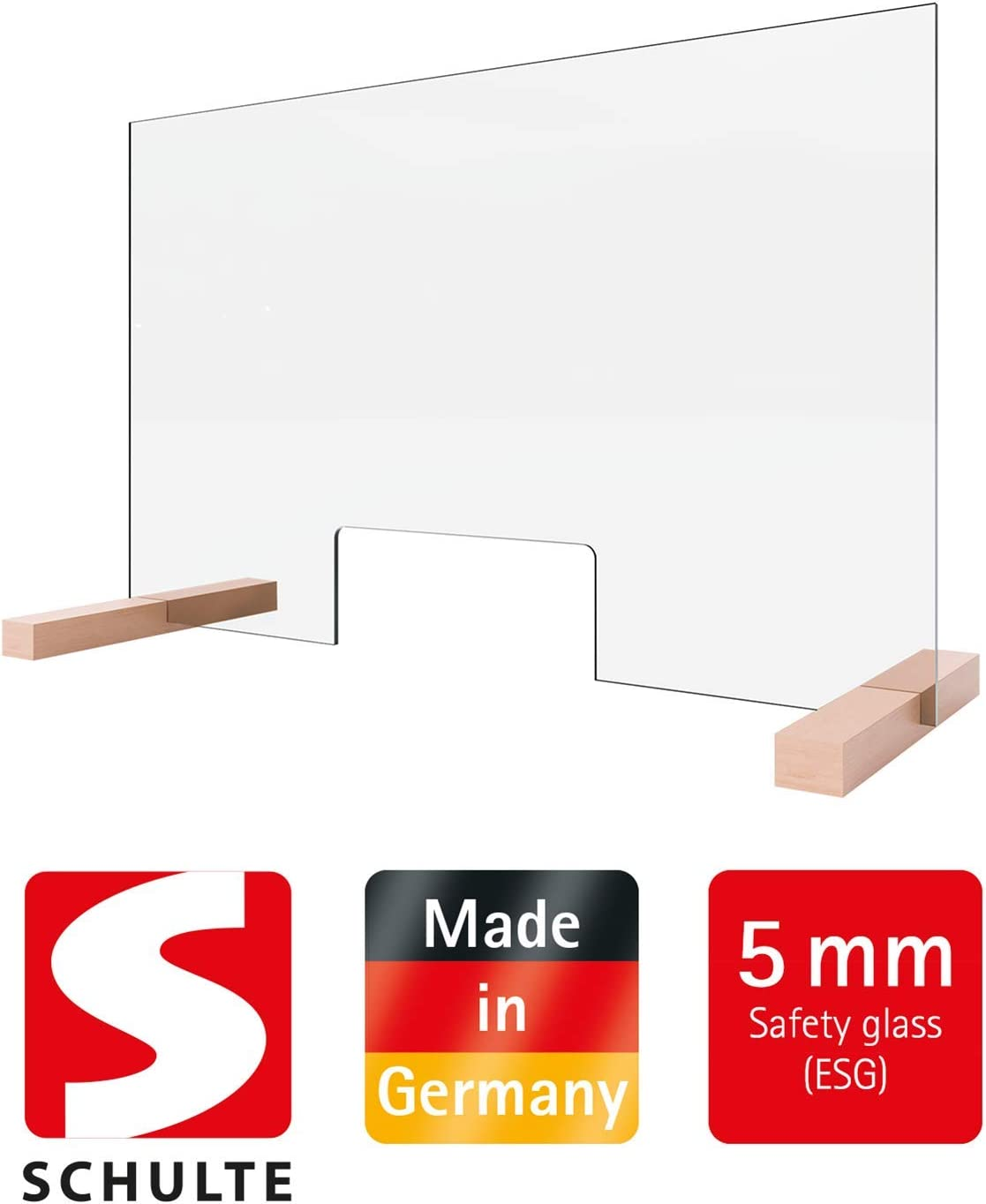 Counter top with Hatch Transparent Made in Germany by Schulte ESG 475750 Immediately Available: Protective Screen and Sneeze Protection Made of 5 mm Safety Glass 75 x 48 cm