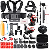 go pro extra mounts - 41-In-1 Action Camera Accessories Kit for GoPro Hero 6/GoPro Fusion/Hero 5/Session 5/4/3+/3/2/1/SJ4000/5000/6000/AKASO/Xiaomi Yi 4K and More by Mogomiten(41 items)