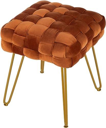 Vanity Chair,Home Faux Fur Ottoman Bench Living Room Square Sofa Stool Mid-Century Modern Luxury Fashion Velvet Vanity Stool,Footstool Side Table