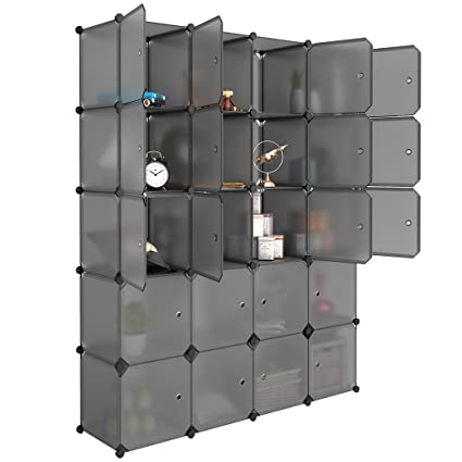 LANGRIA 20 Cube Organizer Stackable Plastic Cube Storage Shelves Design  Multifunctional Modular Closet Cabinet With Hanging
