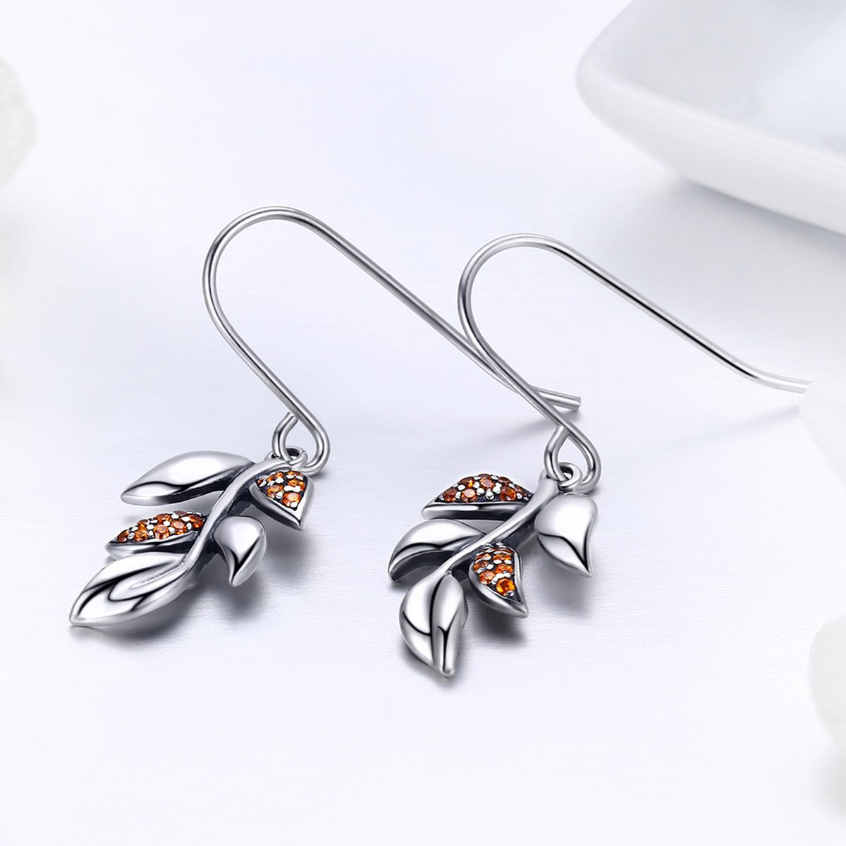 The Kiss Tree of Life Tree Leaves CZ 925 Sterling Silver Drop Earrings