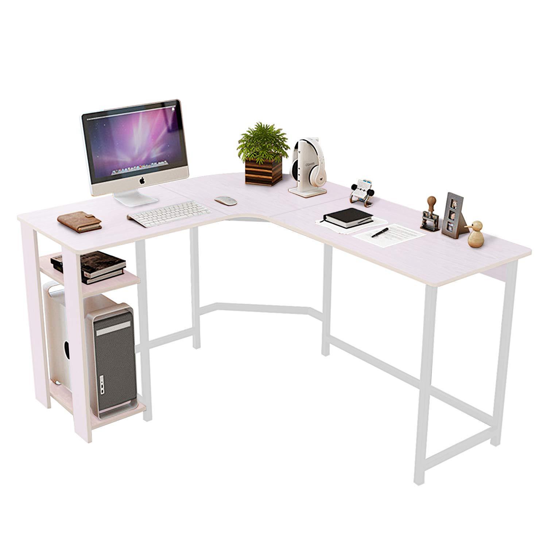 Amazon com dl furniture modern l shaped desk home office workstation corner desk computer writing desk table cream white kitchen dining