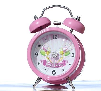 Buy Pink Birthday Alarm Clock Twin Bell Loud For Heavy Sleepers
