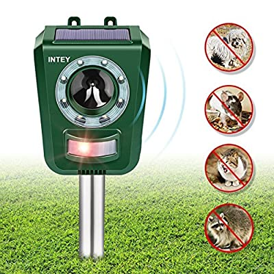 INTEY Solar Ultrasonic Animal Repellent and Pest Repeller, Upgraded Sound Animal Deterrent, Mouse, Squirrels, Birds, Cat, Dog Repeller Waterproof Outdoor Animal Scarer