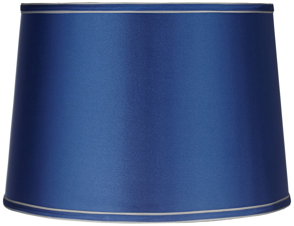 Sydnee Satin Medium Blue Drum Lamp Shade 14x16x11 (Spider) by Brentwood (Image #1)
