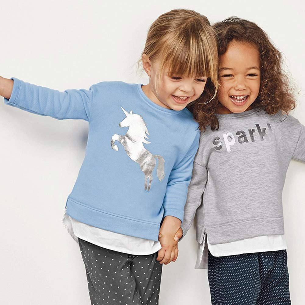 dodoin Toddler Girls Sweatshirt Unicorn Cotton Sweater Crewneck Pullover Shirts Cute Long Sleeve T-Shirts 2-7Y