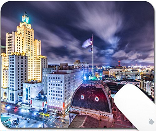 Luxlady Gaming Mousepad 9.25in X 7.25in IMAGE: 23400024 Providence Rhode Island downtown cityscape viewed from behind city - Place Providence Island Rhode