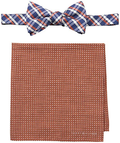 Tommy Hilfiger Men's Grid and Dot Pre-Tied Bow Tie and Pocket Square Set, Orange, One Size (Tommy Hilfiger Bow Tie And Pocket Square Set)