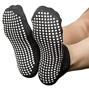 Skyba Non Slip Socks for Women- Grips for Yoga, Barre & Pilates- (2 Pairs) (Small, Black)