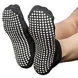 Skyba Non Slip Skid Socks [US] (Black- 2 Pairs, Large)