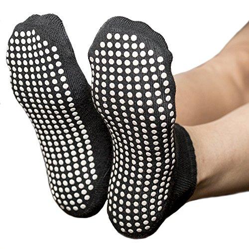 Skyba Non Slip Socks for Women- Grips for Yoga, Barre & Pilates- (2 Pairs) (Medium, Black)