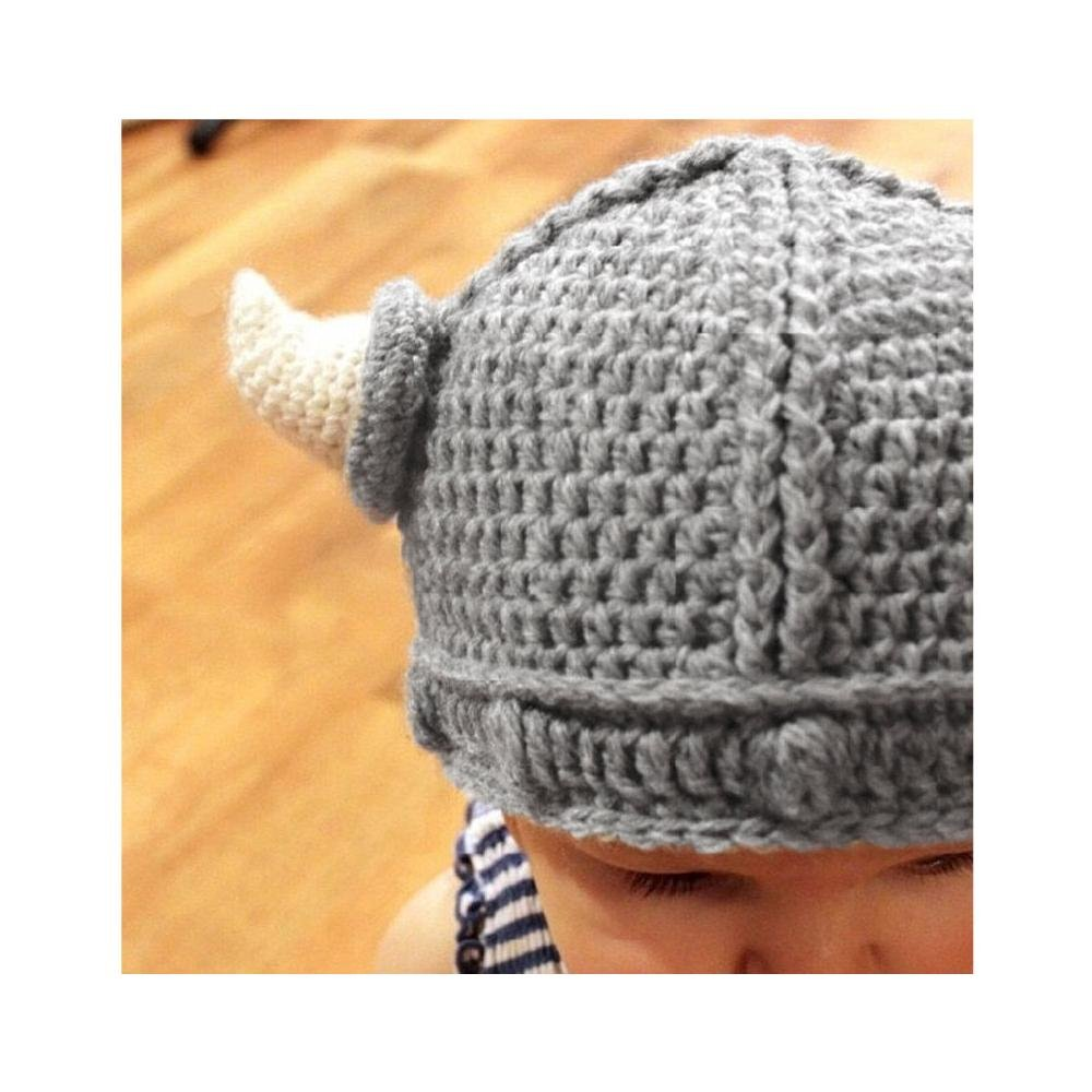 e8bd0d4edc2 Meiyiu New Baby Kids Bonnet Newborn Handmade Crochet Hat Viking Horns  Knitted Hat  Amazon.ca  Clothing   Accessories