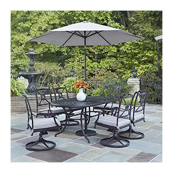 Athens Antique Charcoal Finish 7Piece Dining Set Oval Dining Table, Six Swivel Chairs & Umbrella by Home Styles - Cast aluminum Mediterranean style Charcoal finish - patio-furniture, dining-sets-patio-funiture, patio - 61 zwdzd1%2BL. SS570  -