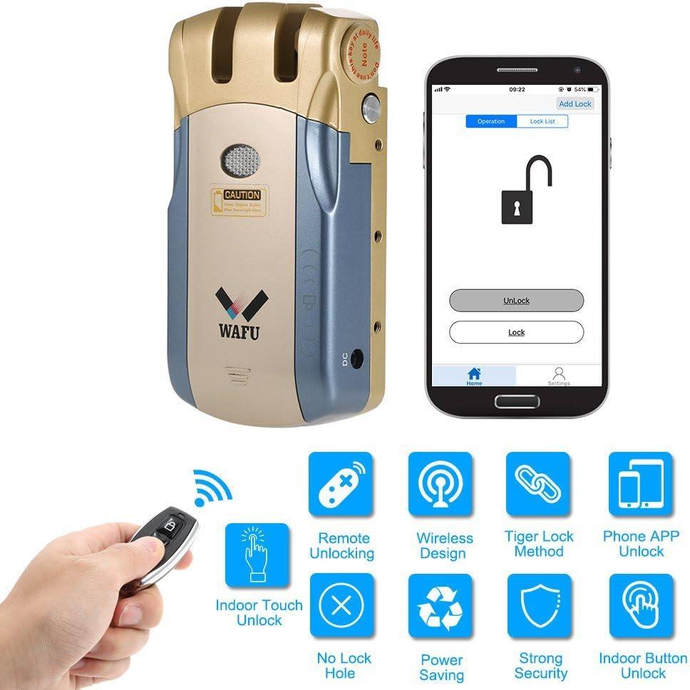 WAFU WF-010U Cerradura Inalámbrica Inteligente Cerradura Invisible Cerradura Control Remoto Desbloqueo de iOS Android APP con 4 Control Remotos, Azul + Oro