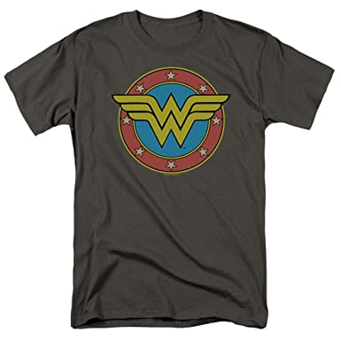 291fd8e97417 Wonder Woman Vintage Logo DC Comics T Shirt & Exclusive Stickers (Small)  Charcoal