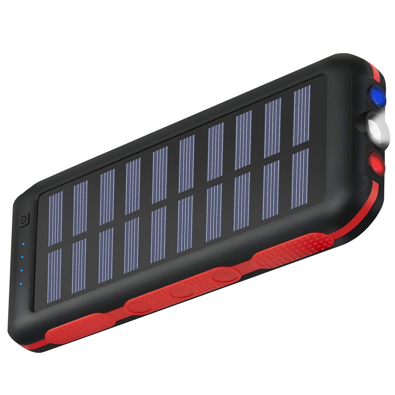 防水・ソーラーチャージャー 大容量25000mAhのモバイルバッテリー