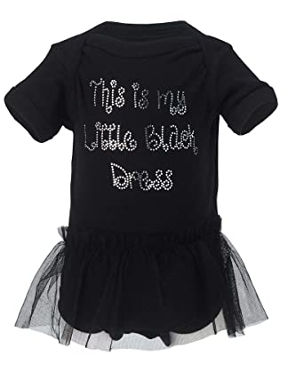 "b7b782981 ""This is My Little Black Dress"" Baby Girl Onesie Bodysuit w/ TuTu"