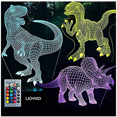3D Dinosaur Unicorn LED Night Light 7 Colors Table Desk Lamp Kids Chrildren Gift