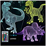 3D Dinosaur Night Light - 3D Illusion Lamp Three Pattern and 7 Color Change Decor Lamp with Remote Control for Kids…