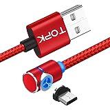 Micro USB マグネット ケーブル、TOPK 1m 側面には磁気ケーブルを吸着する、もっぱらゲームデザイン、Android 急速充電 防塵機能磁気吸収 強化 ナイロン製(レッド)