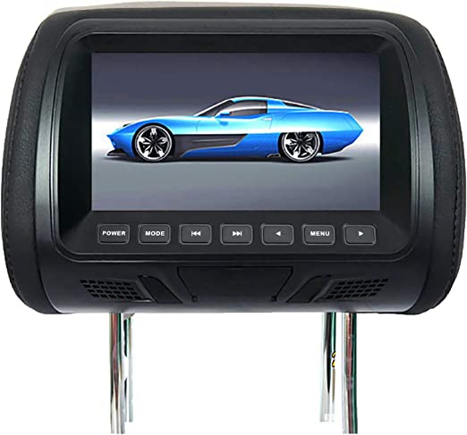 YESBAY Universal Car Headrest Sync car DVD Player HD Multimedia, 7 Inch DC12V Car LCD Digital Display HD Headrest Monitor Rear Seat Entertainment with Remote Control Black