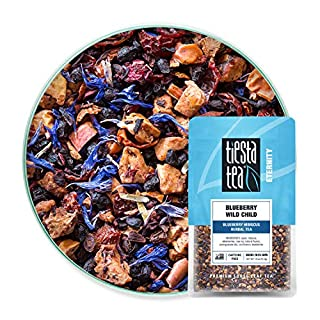Tiesta Tea - Blueberry Wild Child, Loose Leaf Blueberry Hibiscus Herbal Tea, Decaf, Hot & Iced Tea, 1.9 oz Pouch - 25 Cups, Natural Flavors, Herbal Tea Loose Leaf Blend
