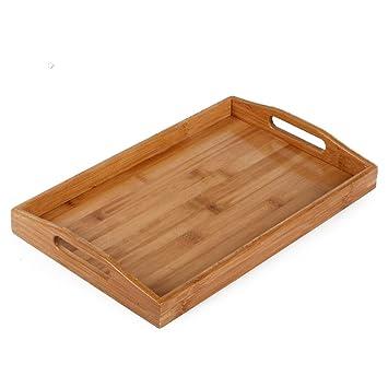 DaoRier bambú bandeja de servir rectangular multifuncional alimentos bandeja para servir 38 * 24.8 * 3.5