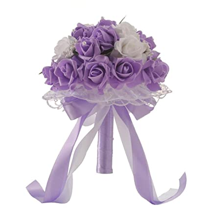 Roses For Sale Near Me >> Leewos Hot Sale Wedding Bouquet Crystal Roses Fake Flowers Pearl Bridesmaid Bridal Artificial Silk Flowers 25x20cm 25x20cm Purple
