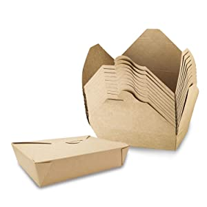 [50 Pack] Take Out Boxes, 50 oz Microwaveable Kraft Brown to Go Boxes - Leak and Grease Resistant Food Containers, Recyclable Lunch Box for Restaurant, Catering and Parties