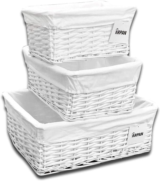 ARPAN - Juego de 3 cestas de Mimbre de Color Blanco con Forro de Tela, tamaño Grande, Mediano y pequeño: Amazon.es: Hogar